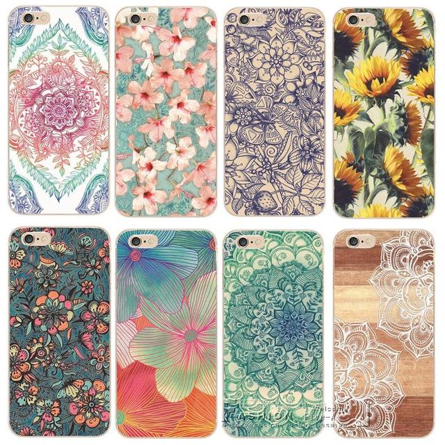 4567843ed Shell For Apple iPhone 6 6S iPhone6S iPhone6 Back Case Cover Printing  Mandala Flower Datura Floral Cell Phone Cases