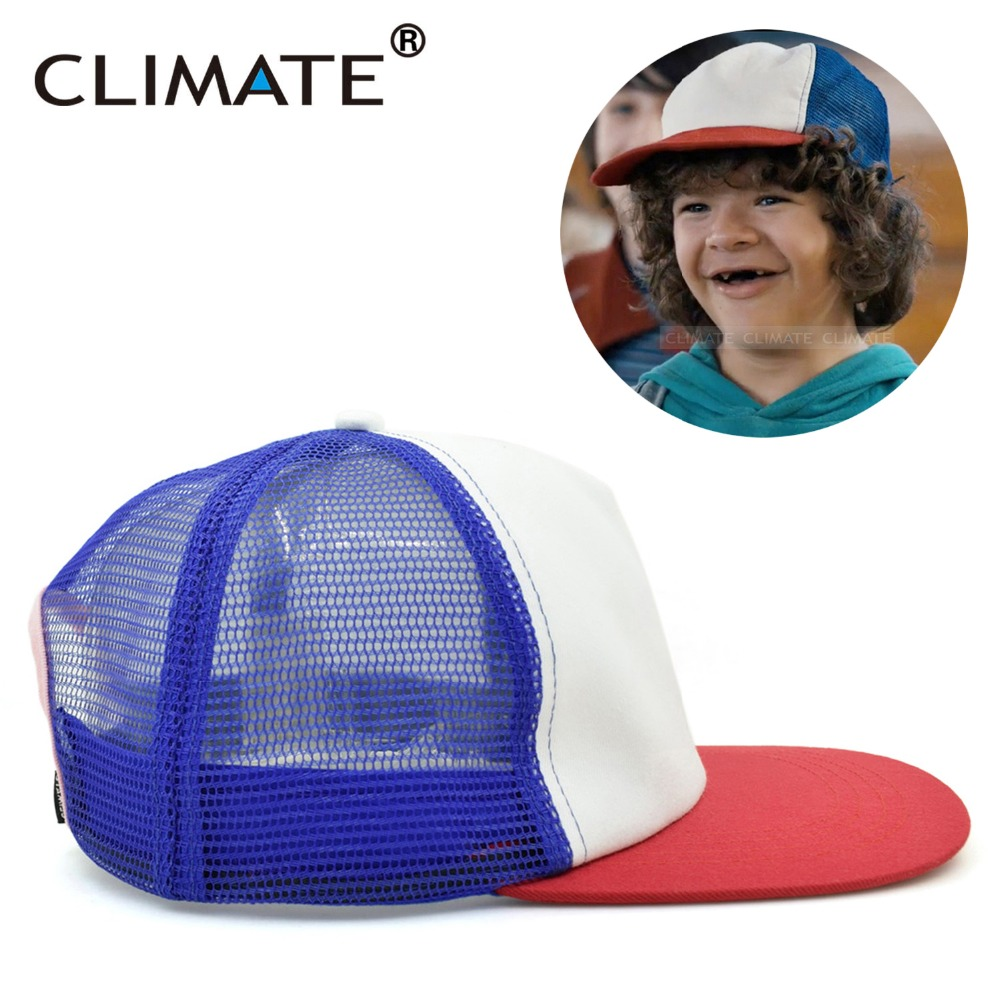 CLIMATE Dustin Stranger Things Dustin Cap Hat 100%Copy Cosplay Coser Dustin Summer Snapback Mesh Net Trucker Hat Cap For Boy Men brushed cotton twill ivy hat flat cap by decky brown