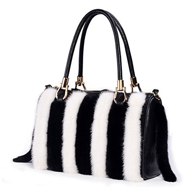 Loodial Women Handbags Real Mink Fur Bag For Top Handle Bags Tote Las