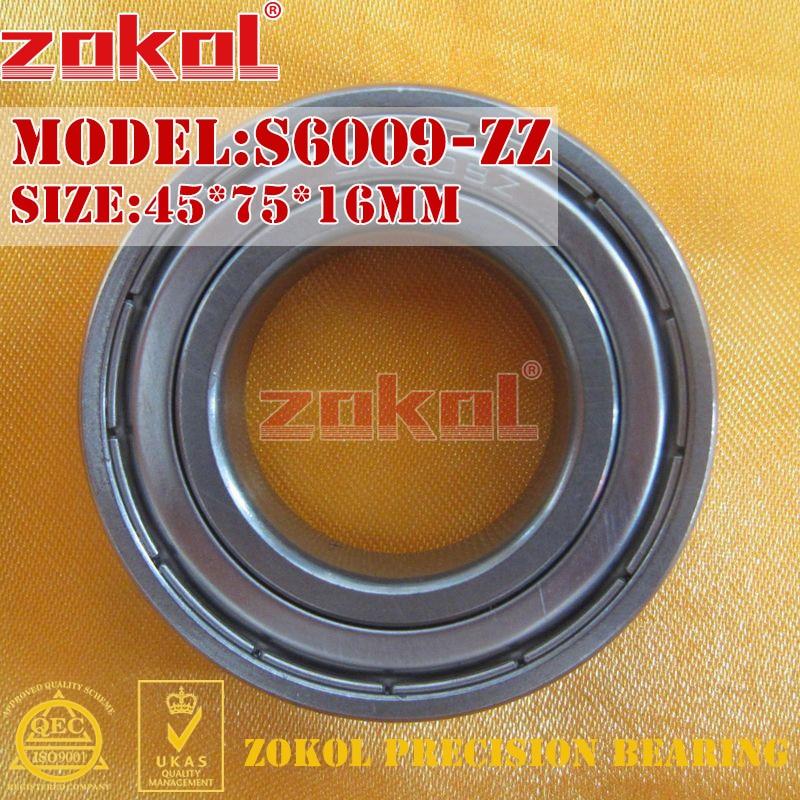 ZOKOL bearing 6009 ZZ S6009-ZZ 80109 S6009ZZ Stainless steel Deep Groove ball bearing 45*75*16mm gcr15 6326 zz or 6326 2rs 130x280x58mm high precision deep groove ball bearings abec 1 p0