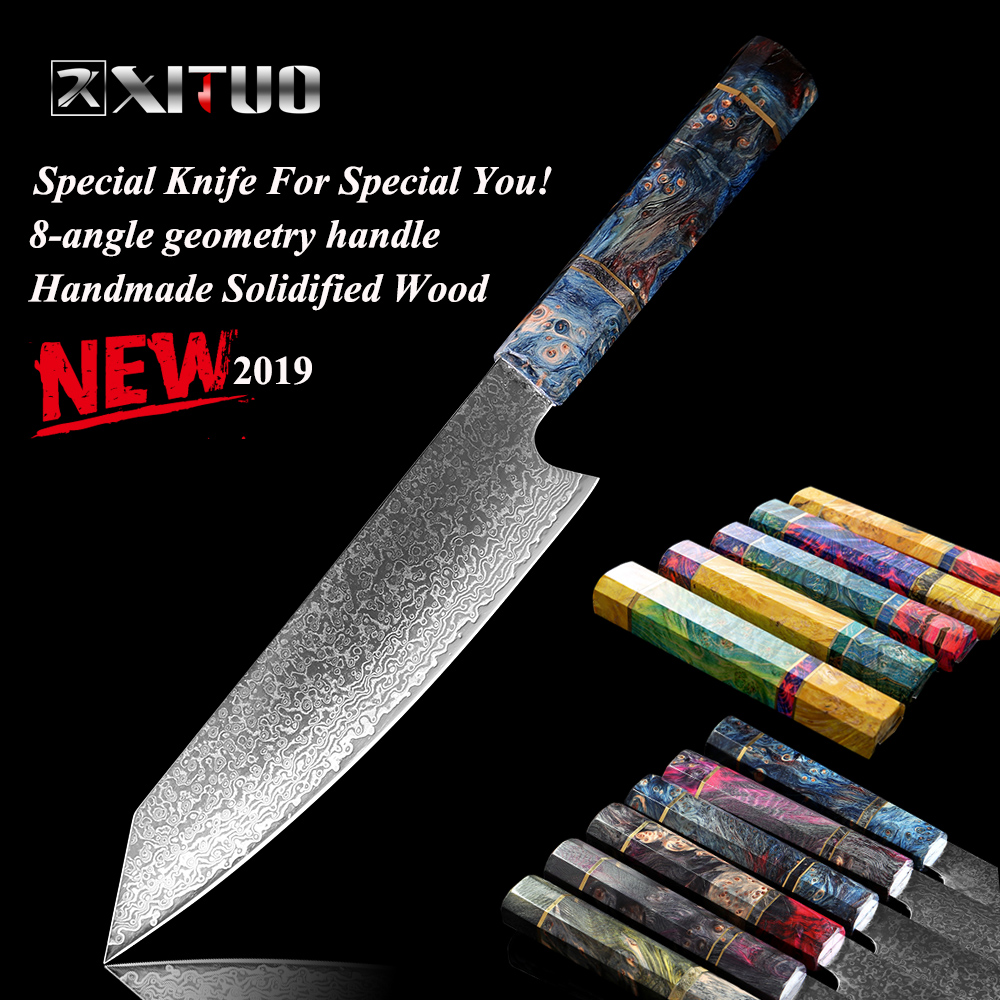 XITUO Damascus Stainless Steel PRO Cooking Tools Chef Kitchen Knife 8 Inch Cleaver Knife Japanese Damascus Meat Salmon Slicing k-in Kitchen Knives from Home & Garden    1