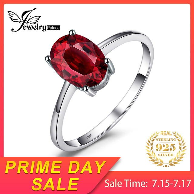 Genuine Red Garnet Solitaire Ring