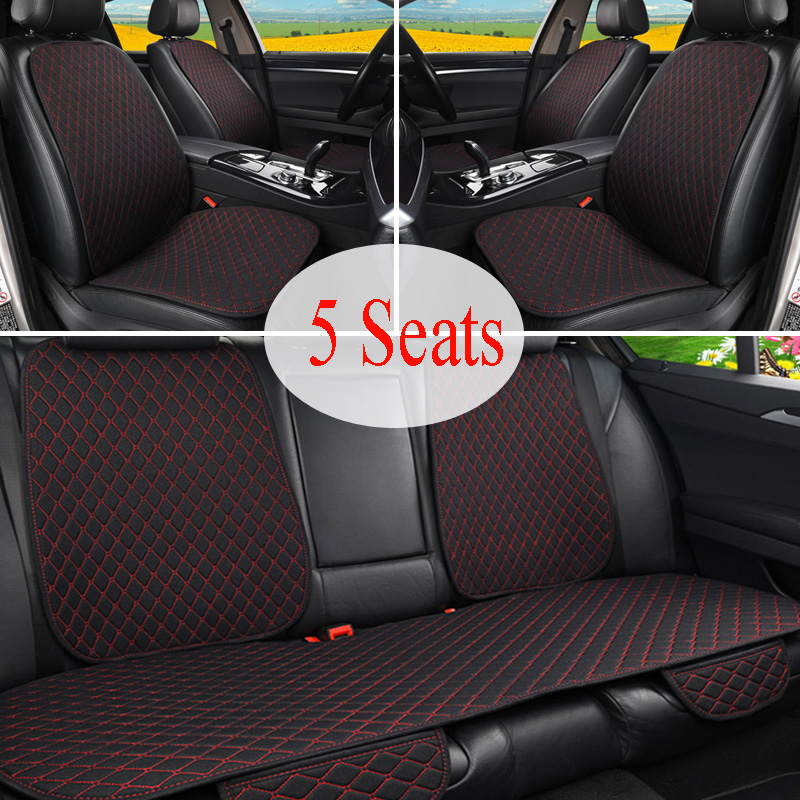 5 assentos Linho Tampa de Assento Do Carro Protetor com Frente Do Encosto Do Banco Traseiro de Volta Da Cintura Almofada Lavável Pad Mat para Auto
