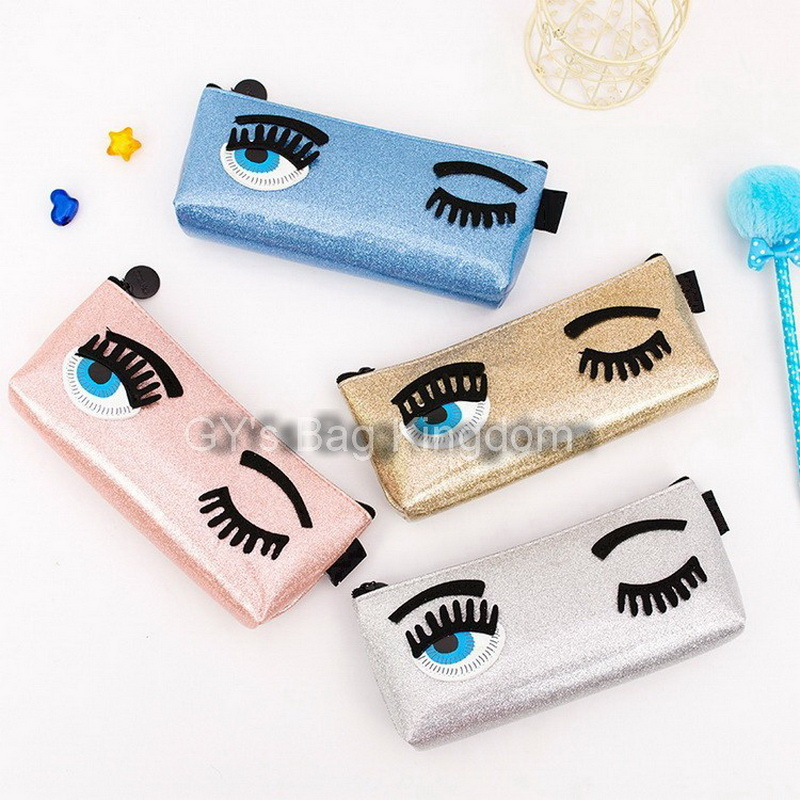 Waterproof Glossy Prealy PU Leather Long Style Purse for Girls Women Big Eye Pattern Blink Eyes Purse Pencil Case Stationery Bag