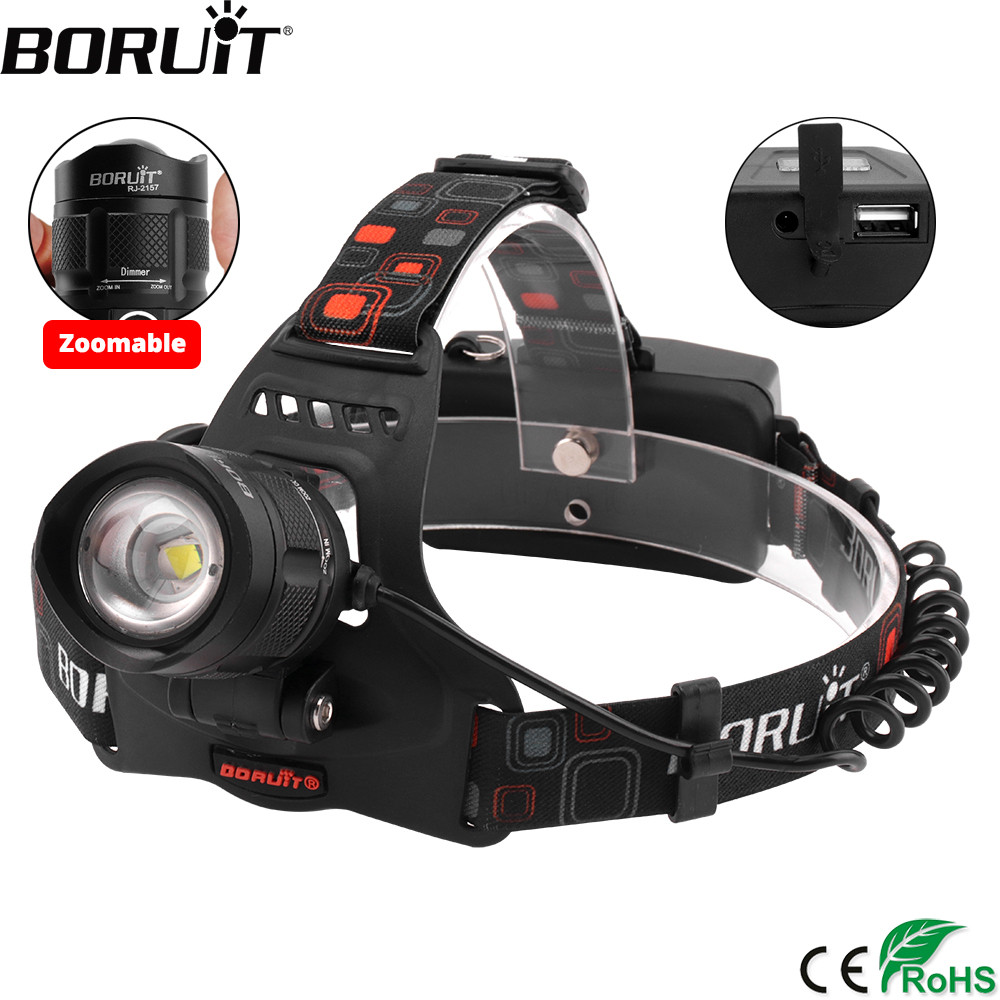 BORUIT RJ-2157 XML L2 LED Headlight 5-Mode Zoom Headlamp Power Bank USB Charger 18650 Head Torch Camping Hunting Flashlight