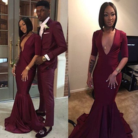 Sexy Deep V Neck Half Sleeves Mermaid Evening Dress Burgundy Floor Length Wedding Party Dress