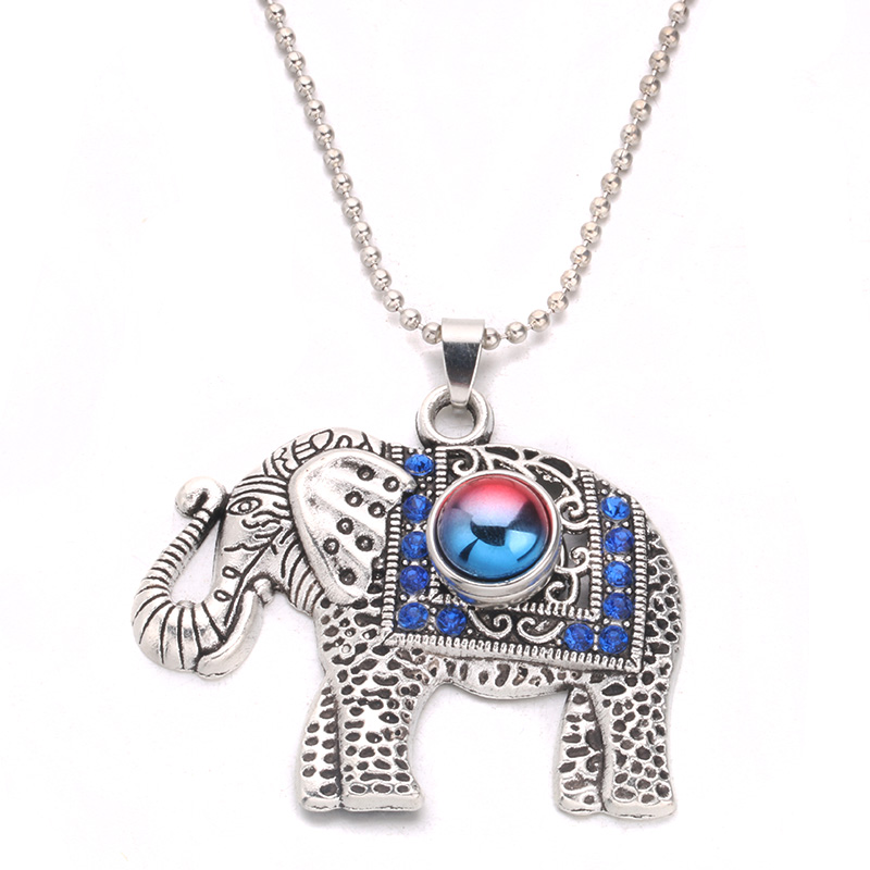 New DIY Crystal Elephant Pendant Necklace 60cm fit 18mm snap Button Sends Three 12mm Resin Snap button factory wholesale D12 image