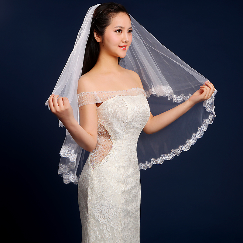 Free Shipping In Stock 1.5m Beautiful Lace Graceful Flower Lace Edge Mantilla Wedding Part Dress Bride Veil