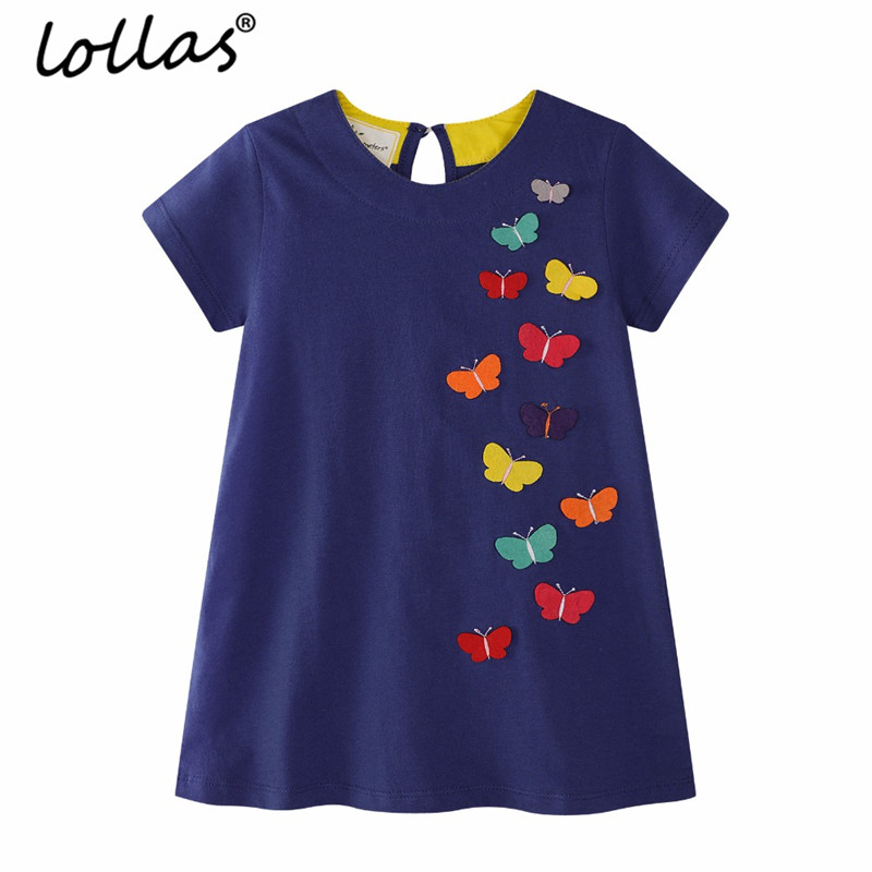 Lollas Girls Summer Dress New Brand Fashion Butterfly Printed Princess Dress Children Costume For Kids Clothes Blue Baby Dress