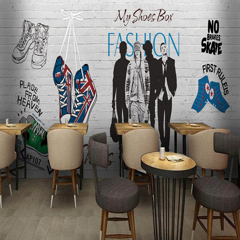Custom photo wallpaper Casual fashion tide shoes shop background wall mural mall corridor custom decorative wallpaper
