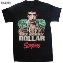 18448d36 drop shipping brand summer Men T shirt Scarface Al Pacino Get Every Dollar  Printed Loose funny t-shirt shubuzhi brand tops