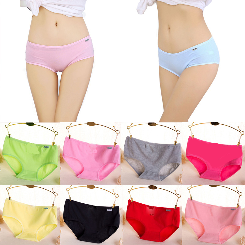 Fashion Ladies Cotton Briefs Women   Panties   2017 Candy Color Soft Comfortable Briefs For Female Plus Size Underpants For Girls