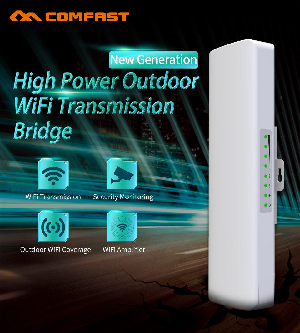 1-3KM WIFI Range Wireless Outdoor CPE Router WIFI Extender 2.4G 300Mbps WiFi Bridge Access Point AP Antenna WI-FI Repeater 1 pair comfast 300mbps outdoor cpe 2 4g wi fi access point wireless bridge 1 3km range extender cpe router repeate for ip cam