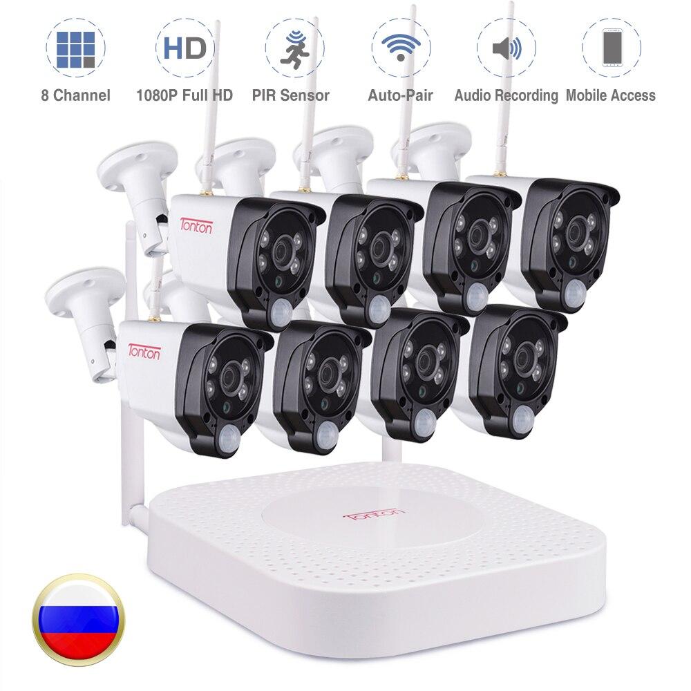 Tonton 8CH Kits 1080 P NVR Gravação de Áudio HD de Segurança Home alarme De Vigilância Por Vídeo Sem Fio Ao Ar Livre Câmera de CFTV IP WI-FI sistema