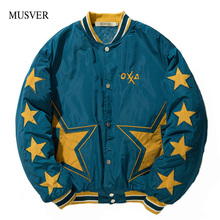MUSVER Winter Bomber Parkas Jacket Men 2017 Fashion Star Embroidery Thick Baseball Fashon Hip Hop Casual Streetwear Male Outwear