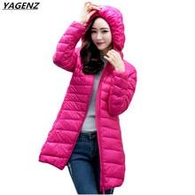Women Basic Coats 2017Spring Thin Ultra Light White Duck Coat Medium Long Hooded Jacket Plus Size Winter Coat Female YAGENZ K350