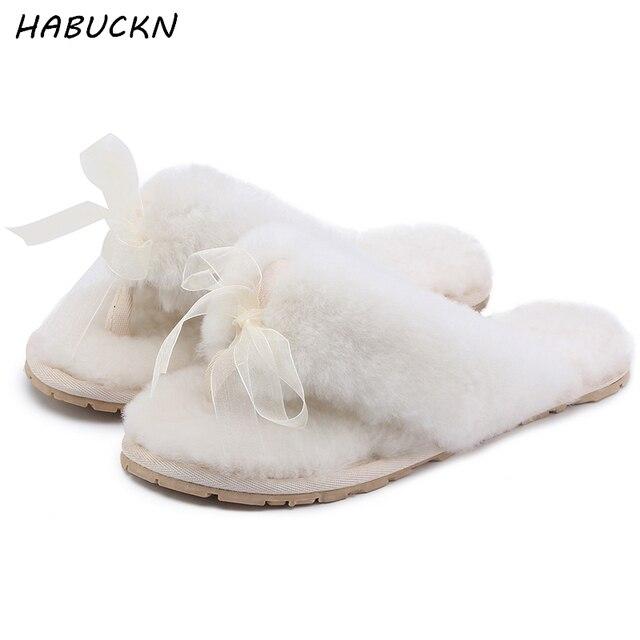 fed02a2b847 HABUCKN Natural Sheepskin Home Slippers Fashion Winter Women Indoor Fur  Slippers Warm Wool Flip Flops Slipper Lady Home Shoes