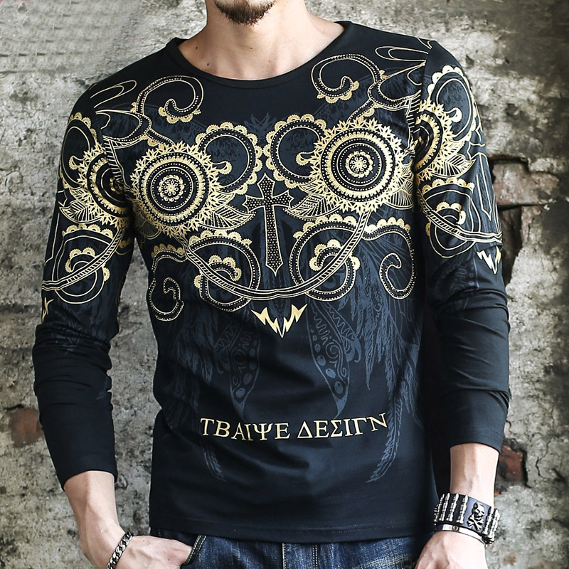 Long-sleeve T-shirts Mens Trendy Clothing White Gold T shirts Baroque Printing T shirts Mens Club Outfits Black Camisa Slim Fit