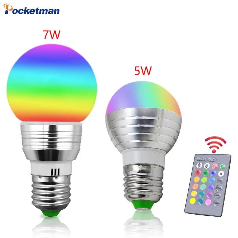 5 Вт 7 Вт E27 RGB Светодиодная лампа для дома прохладно/теплый белый с регулируемой яркостью лампы с Дистанционное управление Функция времени DC ... ...