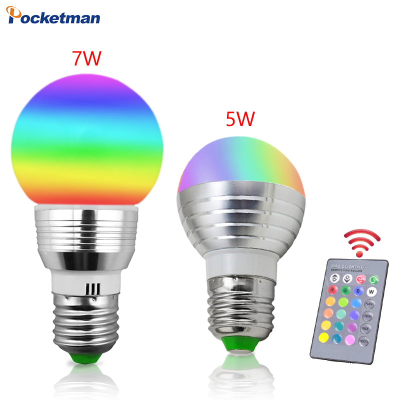 5W 7W E27 RGB LED Light Bulb for Home Cool/Warm White Dimmable Lamp with Remote Control Timing Function DC 85-265V Bar Party