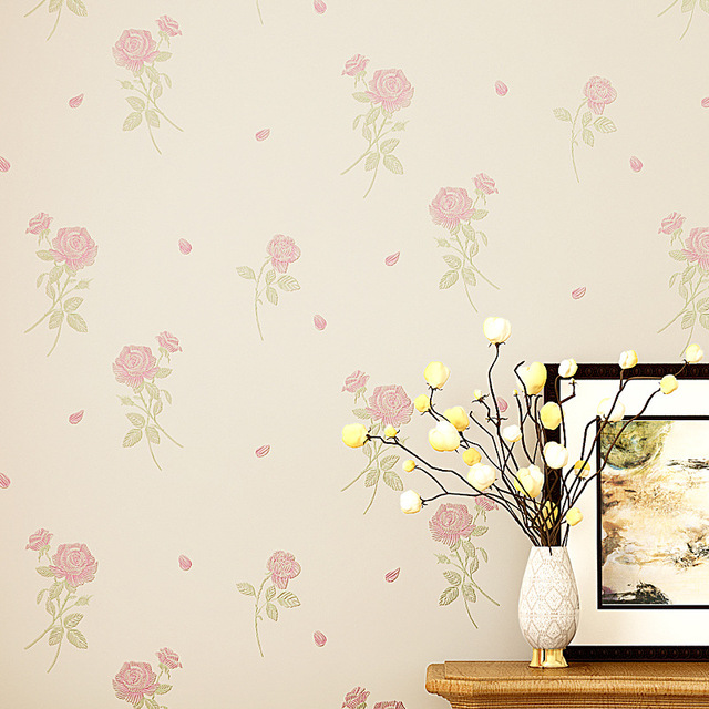 Beibehang Pink Purple Small Flowers Relief 3d Wall Paper Murals