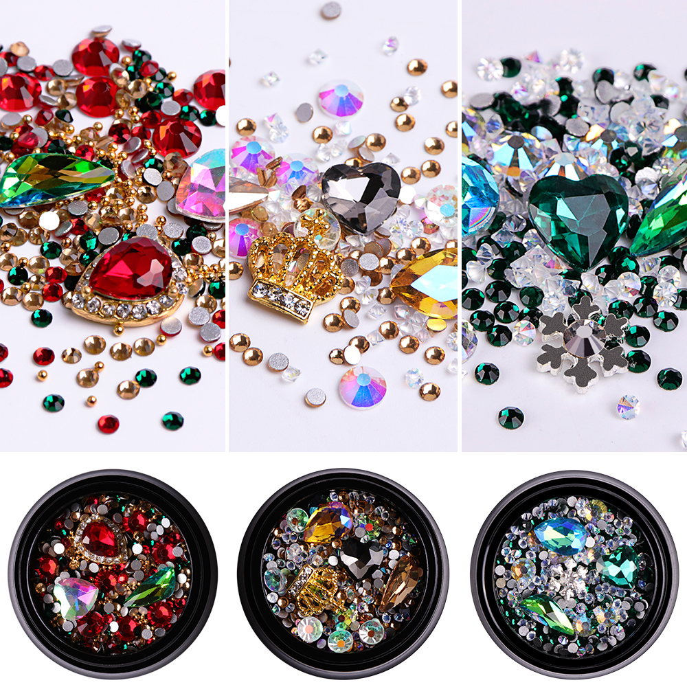1 Box Crystal Glass Mixed Color Nail Rhinestones 3D Charm Strass Gems Heart  Shape Nail Art Decoration Tips Manicure SA01 15-in Nail Glitter from Beauty  ... 28b5ab3079de