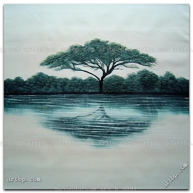 And Reflection In Water Oil Painting Contemporary Canvas Wall Art ...