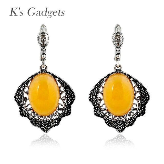 4ebe35a7c32b K de gadgets plata color vintage joyas pendiente cristal negro amarillo  resina piedra Pendientes de gota