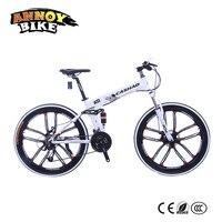 26 inç Alüminyum alaşım 21/24/27 hız Çift disk fren bisiklet Çift şok emme Yağ bahar çatal katlanır dağ bisikleti