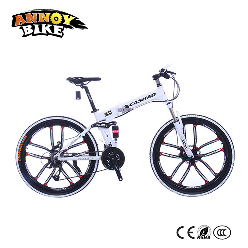 26 inch Aluminum alloy 21/24/27 speed Double disc brake bicycle Double shock absorption Oil spring fork Folding mountain bike image