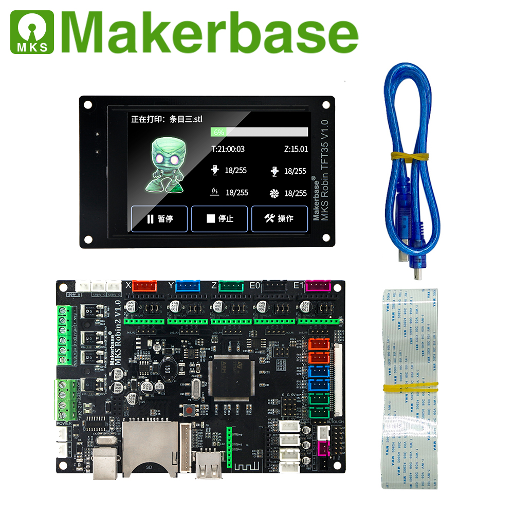 Makerbase MKS Robin2 32Bit Control Board 3D Printer Parts Support Marlin2.0 3.5tft Touch Screens Wifi Control Gcode Preview