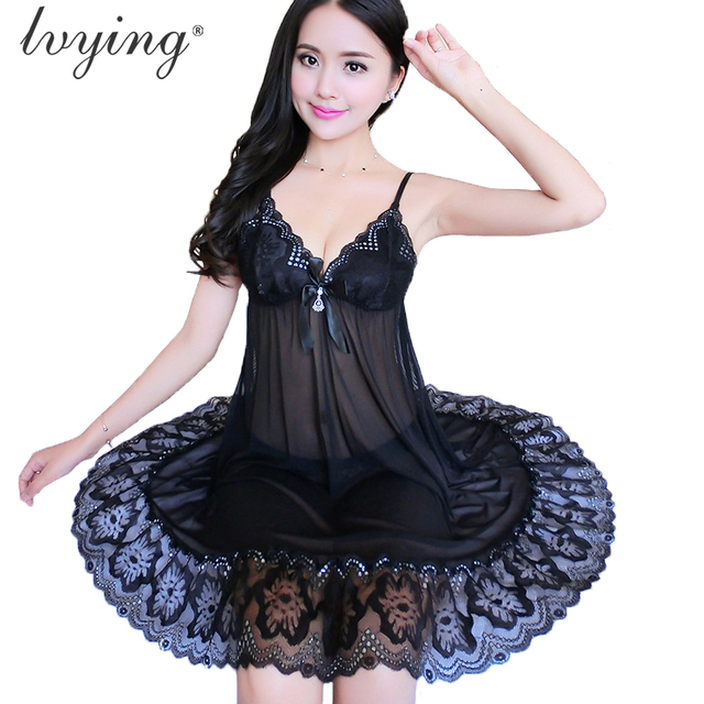 2019 Women pyjamas Sexy lace nightgown Exquisite embroidery lingerie  Condole belt dress Sleepwear Transparents Night dress 13d9a7bff