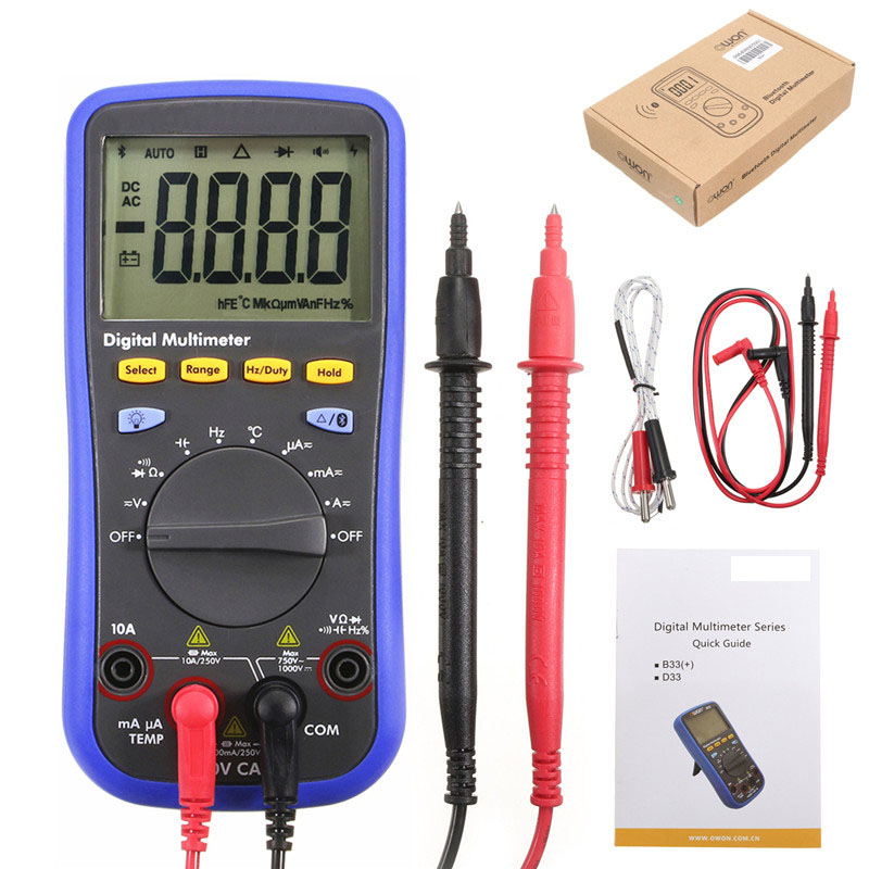 New Bluetooth LCD Digital Multimeter BLE 4.0 with Test Lead  K-type Thermocouple 6000 Count Backlight Real 10M Ohms high quantity medicine detection type blood and marrow test slides