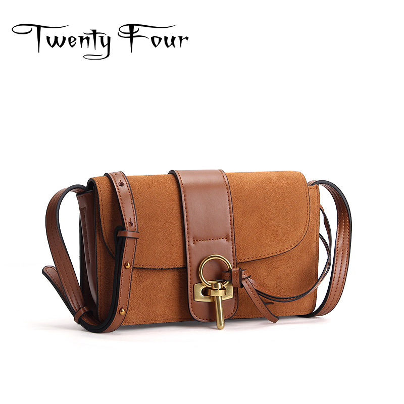 Twenty-four Women Genuine Leather Cross Body Flap Bags With Lock Messenger Bags Solid Color Female Cover Bags Famous Designer twenty four women brand flap bags natural genuine leather handbags with chain solid color cover small bags young cross body bags