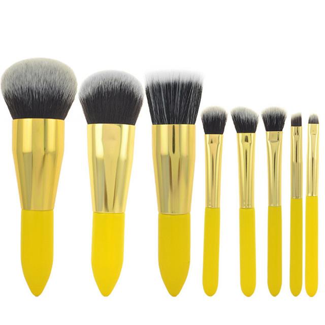 8 unids/kit lemon amarillo pelo sintético cepillo profesional fundación blush pinceles de sombra de ojos de la ceja