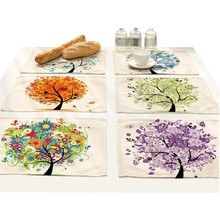 цена на Tree Print Fabric Coasters Plants Placemat Dining Table Mats Home Decoration Accessories Tablecloth Waterproof Linen Floral