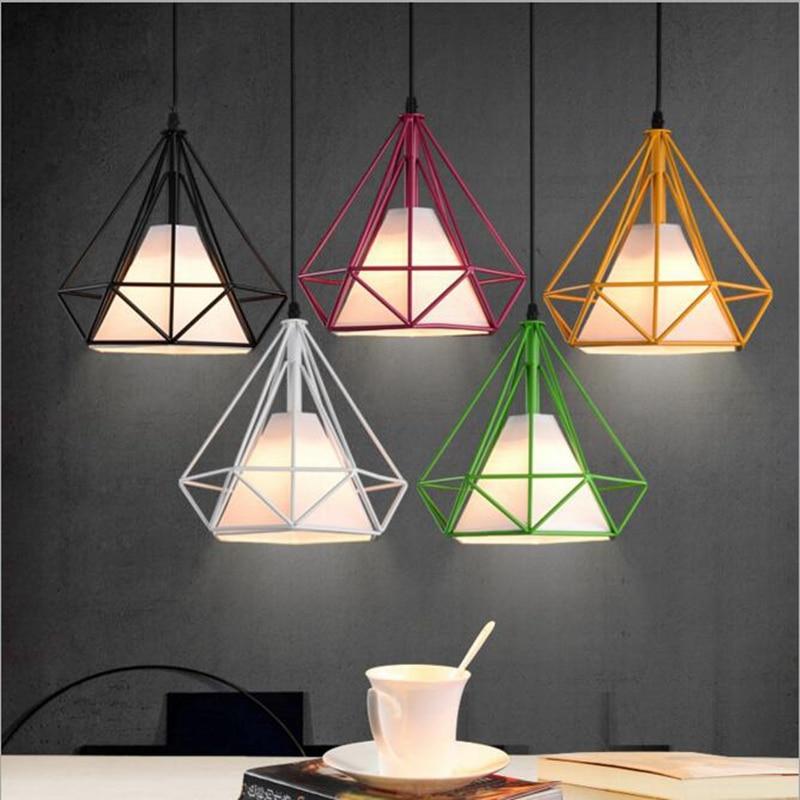 lukloy lampade a sospensione moderno colorato birdcage led cucina luce paralume per cucina ad isola