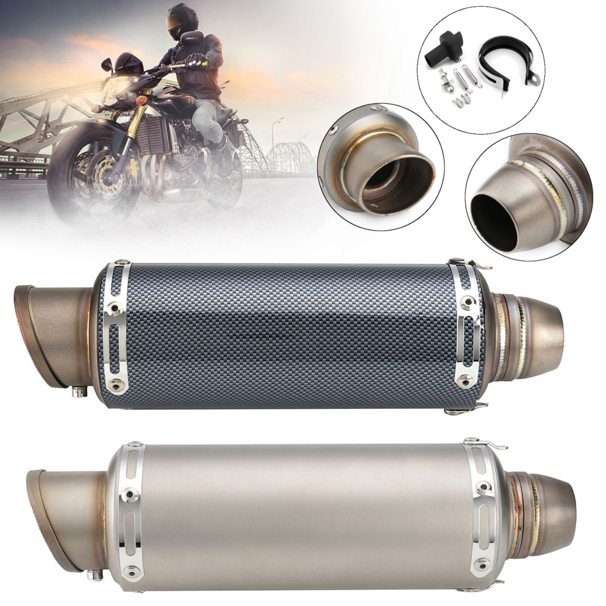 38~51mm Universal Carbon Fiber Titunium Stainless Steel Exhaust Muffler Pipe Kit For Motorcycle ATV Dirt Bike Scooter Quad laser mark motorcycle modified muffler sc carbon fiber exhaust pipe for bmw r1200st s1000 s1000xr s1000 rr xr 1000xr