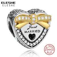Authentic 925 Sterling Silver Gold Color Bound By Love Just Married Charm Beads Fit Pandora Original