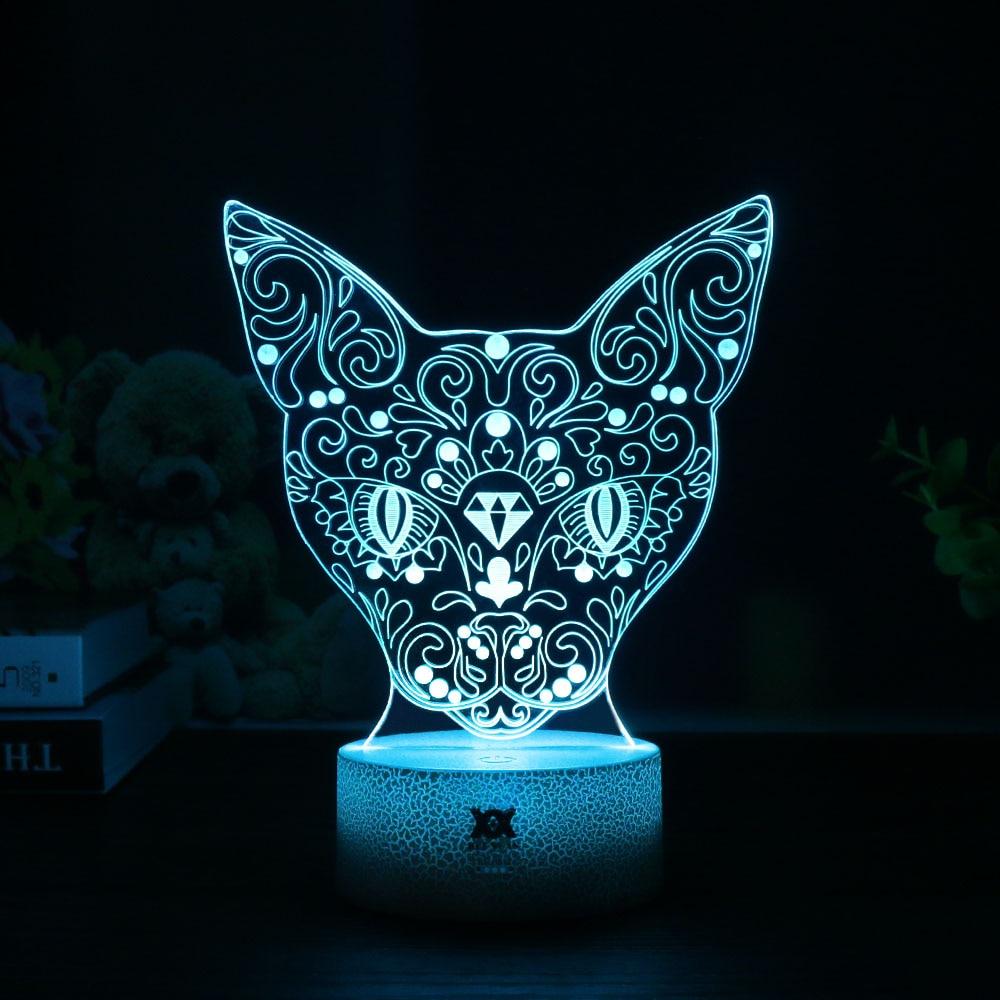 HUI YUAN Positive Cat 3D Night Light RGB Changeable Mood Lamp 7 ...