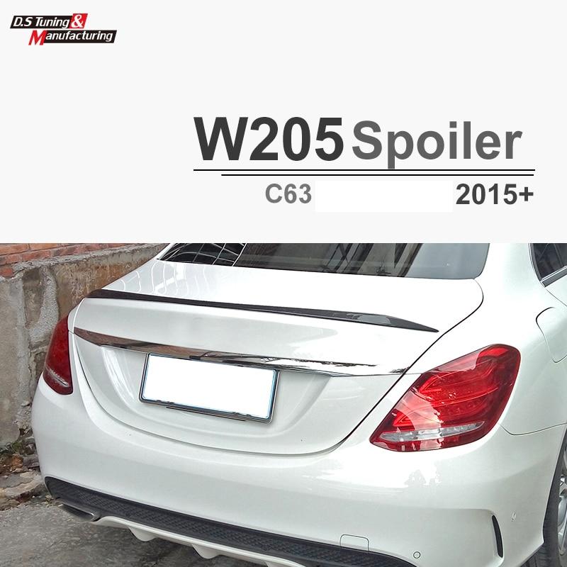 C63 Style Replacement Mercedes W205 Carbon Fiber Spoiler For 2015 2016 2017 Benz C Class 4 door Trunk Lid