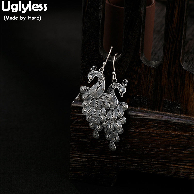 Uglyless 100% réel 925 argent boucles d'oreilles goutte pour les femmes Style d'été Multi cercles boucles d'oreilles fraise Quartz boules bijoux fins