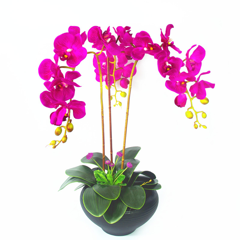 7pcs Set Purple Flower Arrangment Orchids With Leaves Real Touch Flower Table Wedding Party Decorative Event Free Shipping in Artificial Dried Flowers from Home Garden