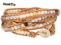 women adjustable opal with crystal beige leather wrap bracelet