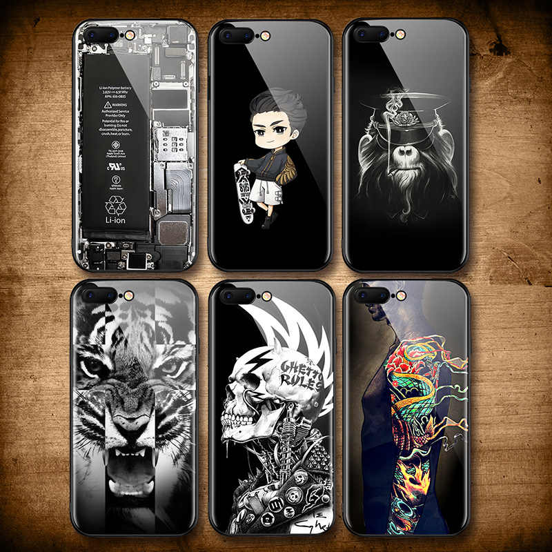 Cool Skull Tiger Tempered Glass Case for iphone 7 8 6 plus Dragon Tatoo Skate Boy Broken Glass Cover for iphone 6s 7 7plus Case
