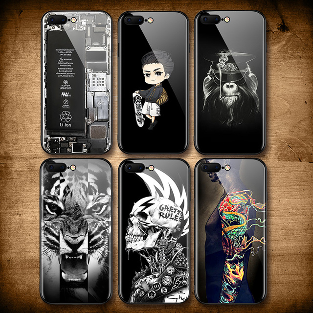 newest c5cfe fc8bd US $3.99 20% OFF|Cool Skull Tiger Tempered Glass Case for iphone 7 8 6 plus  Dragon Tatoo Skate Boy Broken Glass Cover for iphone 6s 7 7plus Case-in ...