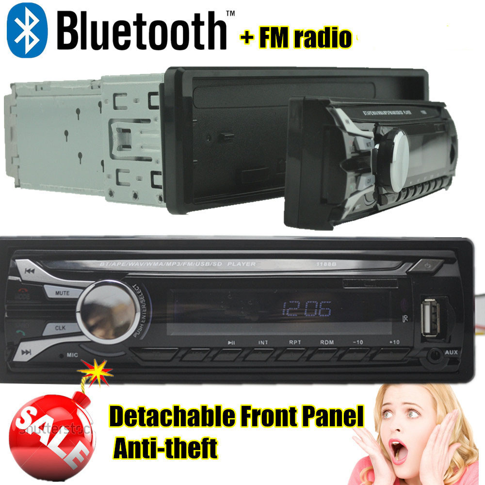 free shipping Radio player car audio Detachable Front Pannel auto bluetooth Stereo radios MP3 5V Charger