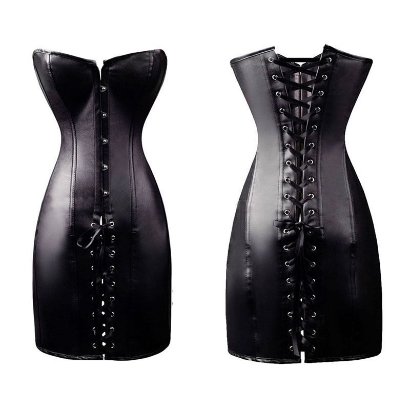 Black Long Corset Dress Steampunk Faux Leather Sexy Gothic Women Lace Up Boned Overbust Clubwear