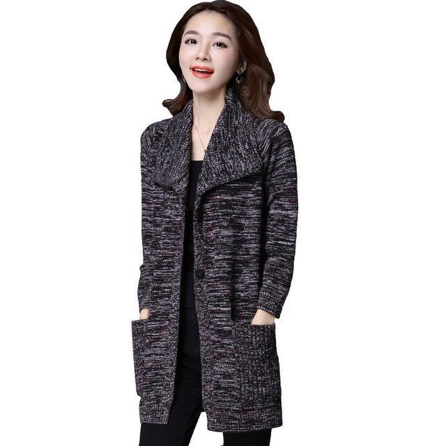Autumn Winter Poncho Cardigan Coat Women Pockets Long Sweater Jumper
