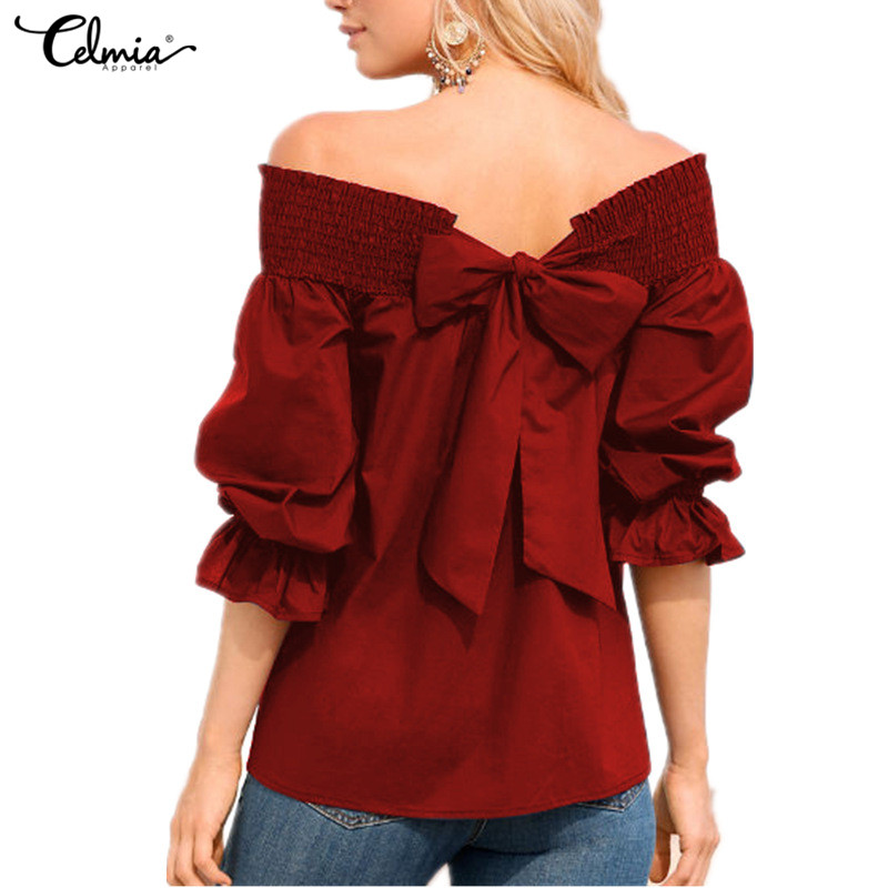 Celmia Sexy Off Shoulder Tops Women Blouse 2018 Summer Strapless Bowknot Slash Neck Shirts Casual Loose Plus Size Blusa Feminina